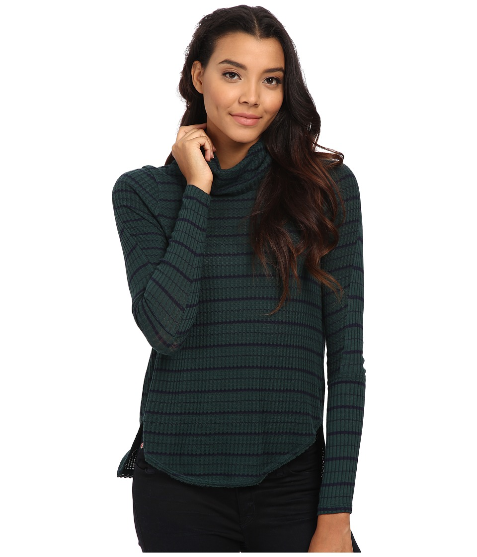 Free People - Drippy Striped Thermal Pullover (Forest/Marine) Women's Clothing