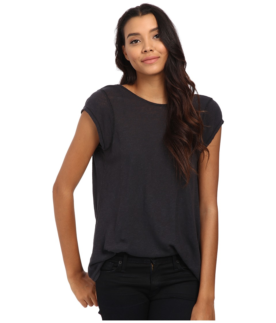 Free People - Slub Prairie Tee (Black) Women's T Shirt