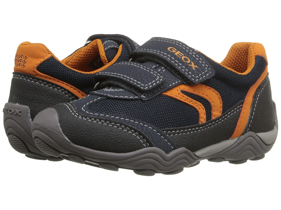 Geox Kids - Jr Arno Boy 10 (Toddler/Little Kid) (Navy/Orange) Boy's Shoes