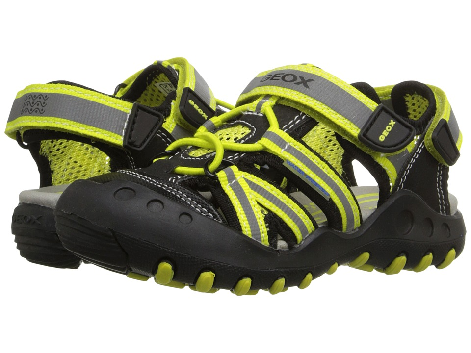 Geox Kids - Jr Kyle 5 (Toddler/Little Kid) (Black/Lime Green) Boy's Shoes