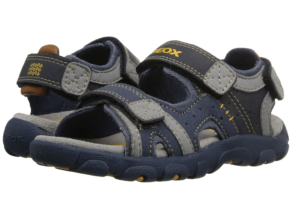 Geox Kids - Jr Strada 14 (Toddler/Little Kid) (Navy/Grey) Boys Shoes