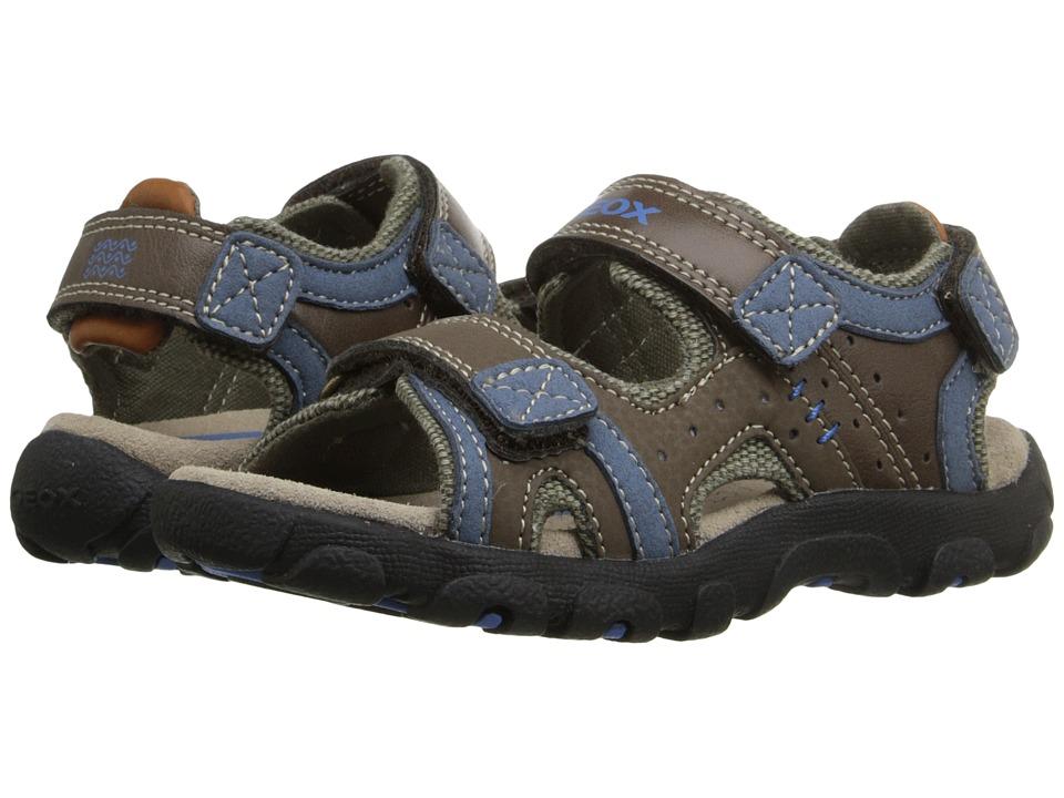 Geox Kids - Jr Strada 14 (Toddler/Little Kid) (Brown/Avio) Boys Shoes