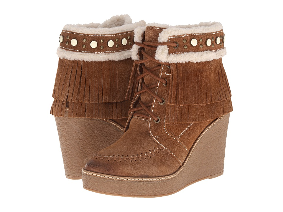 Sam Edelman - Kemper (Mocha Latte/Ivory Oily Velour Suede/Shearling) Women's Lace-up Boots