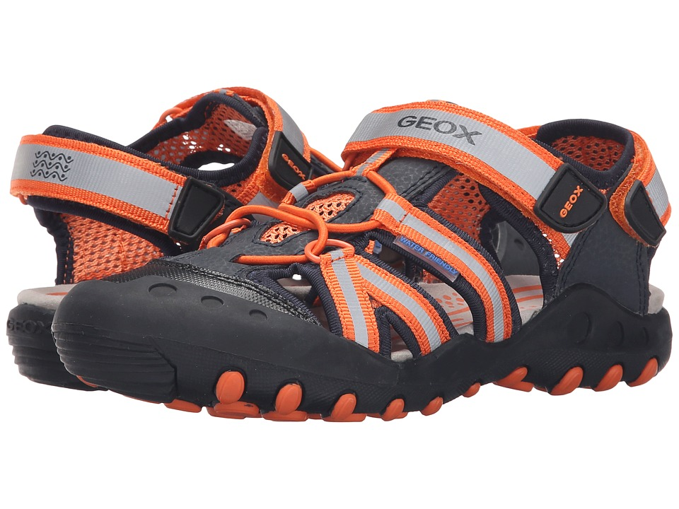 Geox Kids - Jr Kyle 5 (Little Kid/Big Kid) (Navy/Orange) Boy's Shoes