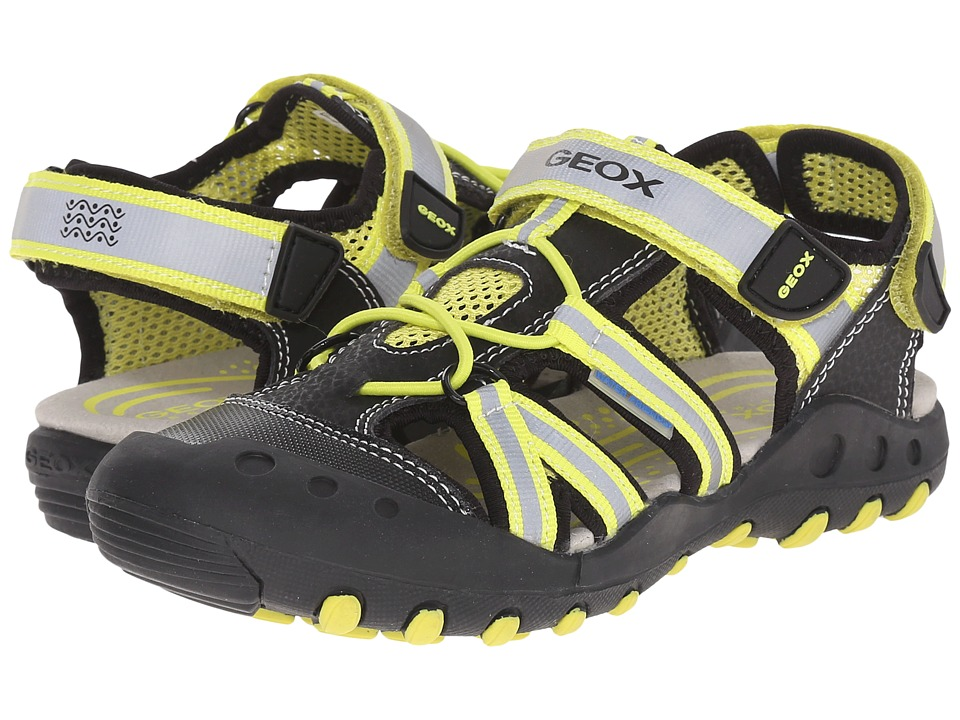 Geox Kids - Jr Kyle 5 (Little Kid/Big Kid) (Black/Lime Green) Boy's Shoes