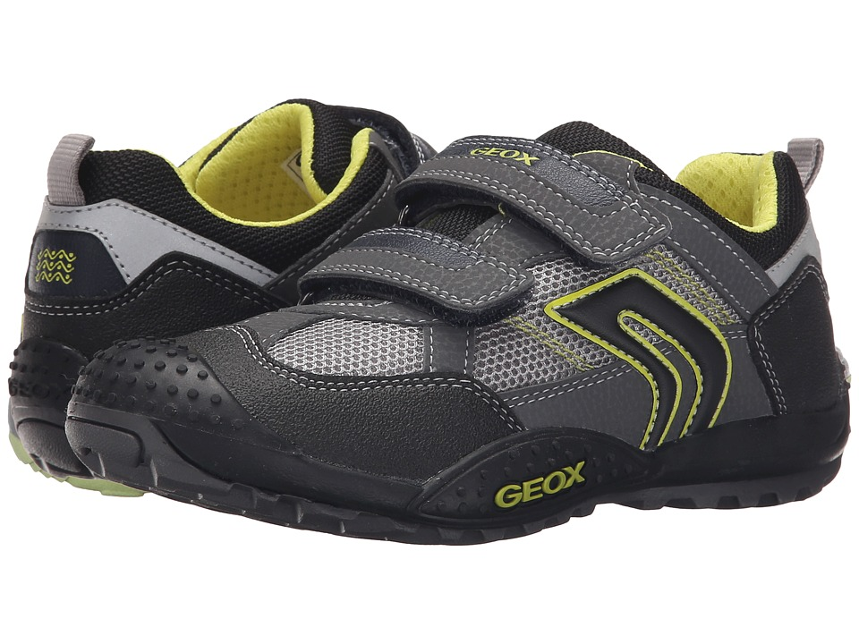 Geox Kids - Jr Marlon 8 (Little Kid/Big Kid) (Grey/Lime) Boy's Shoes