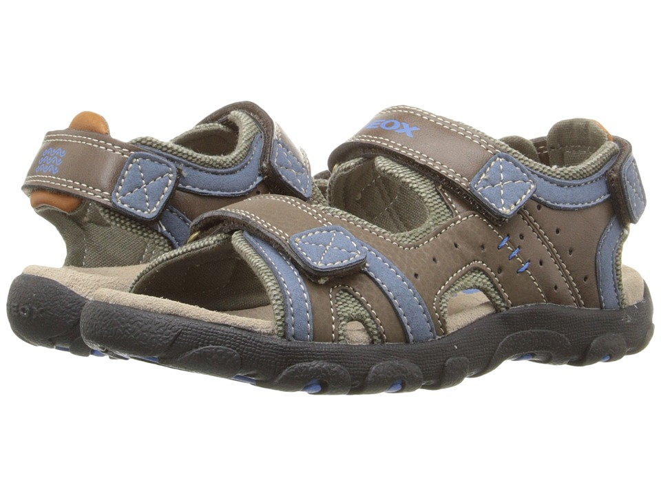 Geox Kids - Jr Strada 14 (Little Kid/Big Kid) (Brown/Avio) Boys Shoes