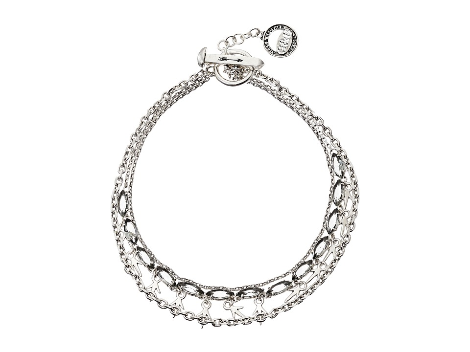 Giles & Brother - Thorn Charm Navette Necklace (Silver Oxide Finished Brass/Black Diamond Crystal) Necklace