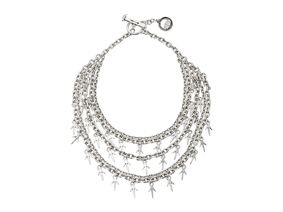 Giles & Brother - Five Chain Cascading Thorn Necklace (Silver Oxide Finished Brass) Necklace