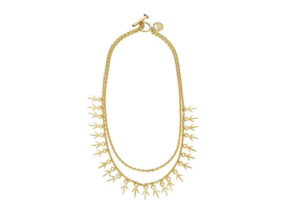 Giles & Brother - Long Thorn 2 Chain Necklace (Gold Finished Brass) Necklace
