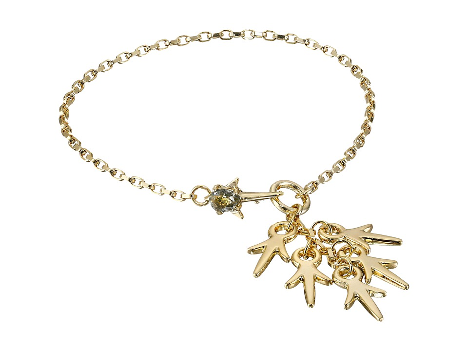 Giles & Brother - Thorn Charm Tassle Bracelet (Gold Finished Brass/Clear Diamond Crystal) Bracelet