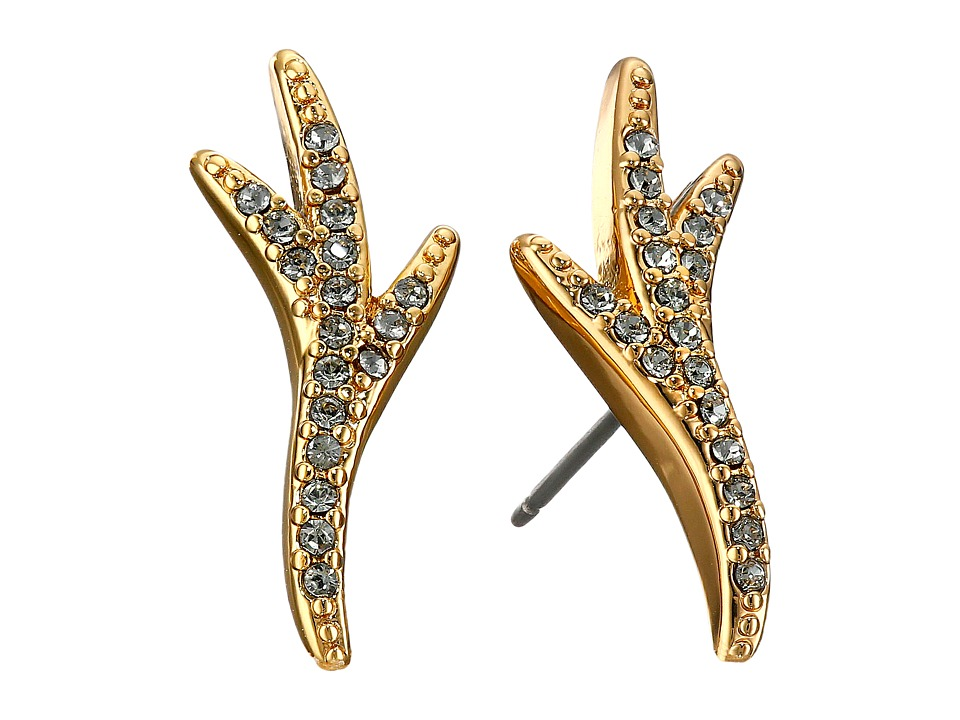 Giles & Brother - Pave Thorn Stud Earrings (Gold Finished Brass/Clear Diamond Crystal) Earring
