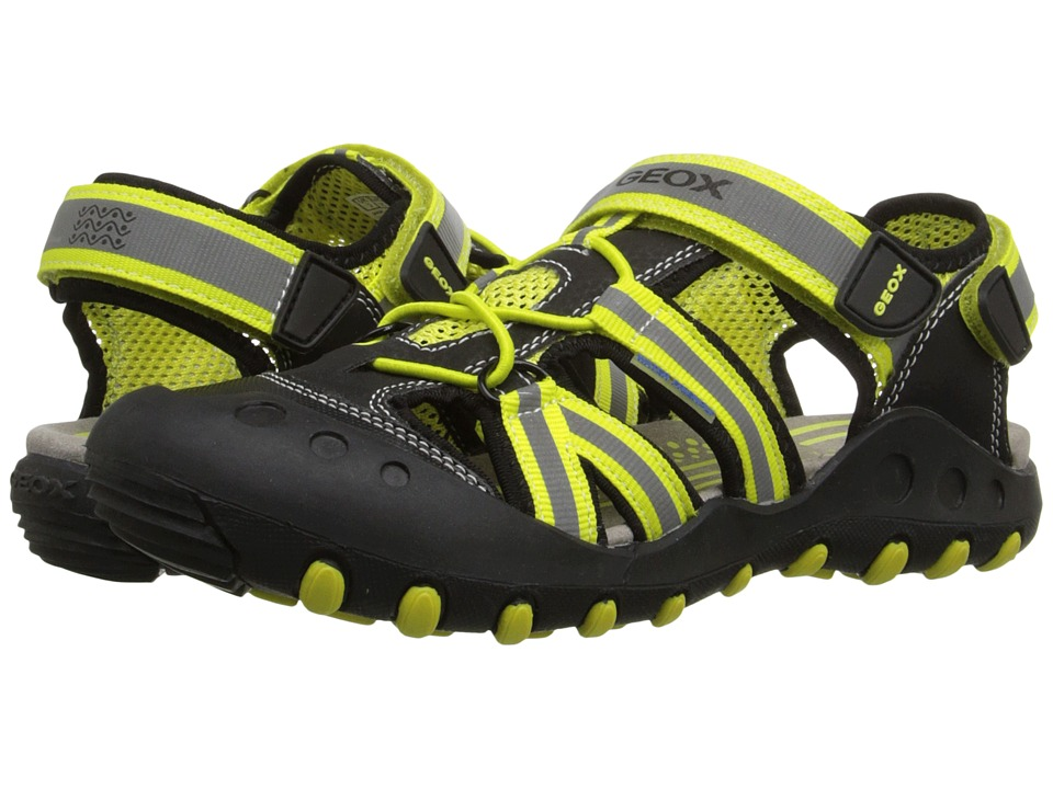 Geox Kids - Jr Kyle 5 (Big Kid) (Black/Lime Green) Boy's Shoes