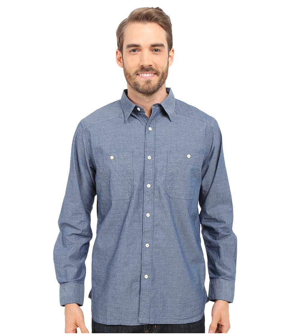 Mountain Khakis - Ace Indigo Long Sleeve Shirt (Polkadobby) Men's Clothing