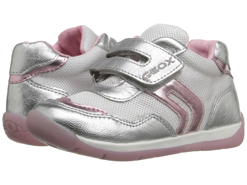 Geox Kids - Baby Each Girl 4 (Infant/Toddler) (White/Silver) Girl's Shoes