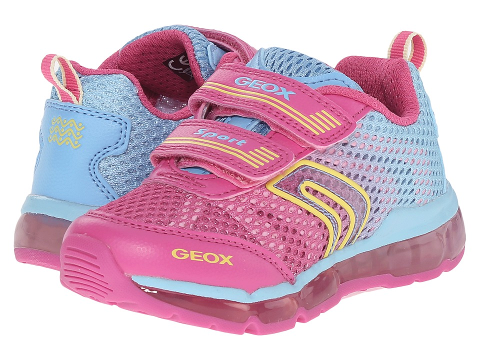 Geox Kids - Jr Android Girl 2 (Toddler/Little Kid) (Fuchsia/Sky) Girl's Shoes