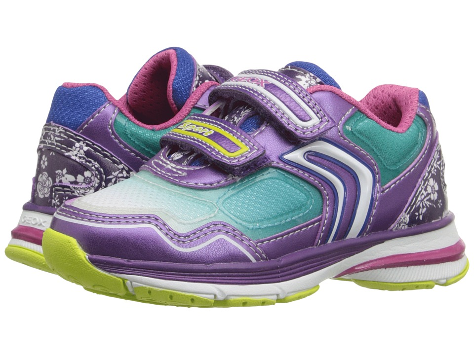 Geox Kids - Jr Top Fly Girl 6 (Toddler/Little Kid) (Purple/Turquoise) Girl's Shoes
