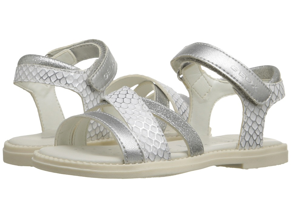 Geox Kids - Jr Sandal Karly Girl 7 (Toddler/Little Kid) (White/Silver) Girl