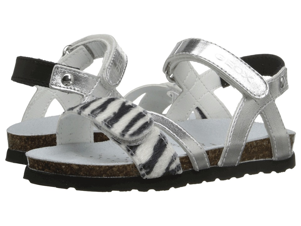 Geox Kids - Jr New Sandal Aloha G1 (Toddler/Little Kid) (Silver/Black) Girl's Shoes