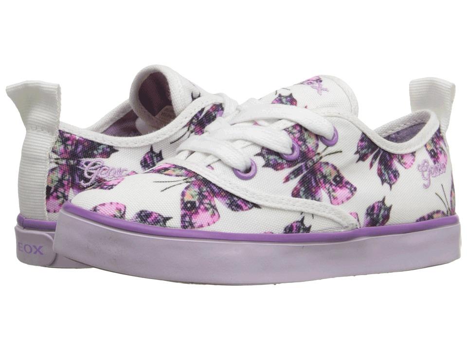Geox Kids - Jr Ciak Girl 43 (Toddler/Little Kid) (White/Lilac) Girl's Shoes