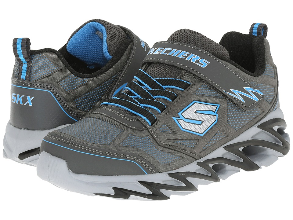 SKECHERS KIDS - Fast Volt 95956L (Little Kid) (Charcoal/Blue) Boy's Shoes