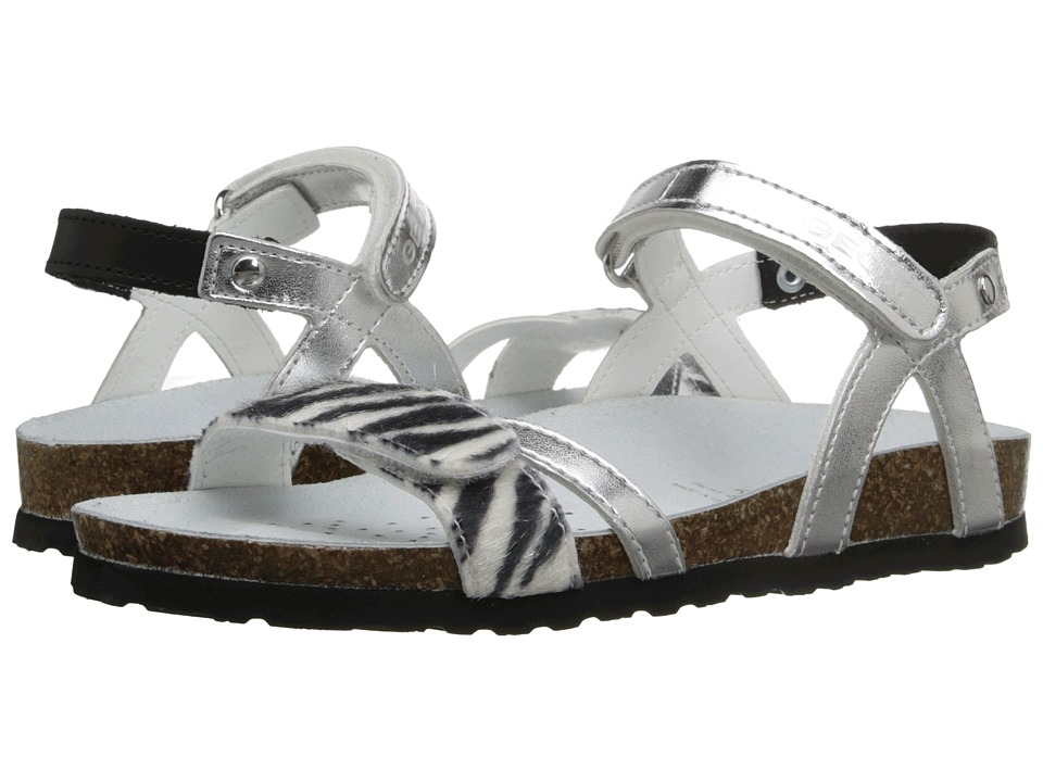 Geox Kids - Jr New Sandal Aloha G1 (Little Kid/Big Kid) (Silver/Black) Girl's Shoes