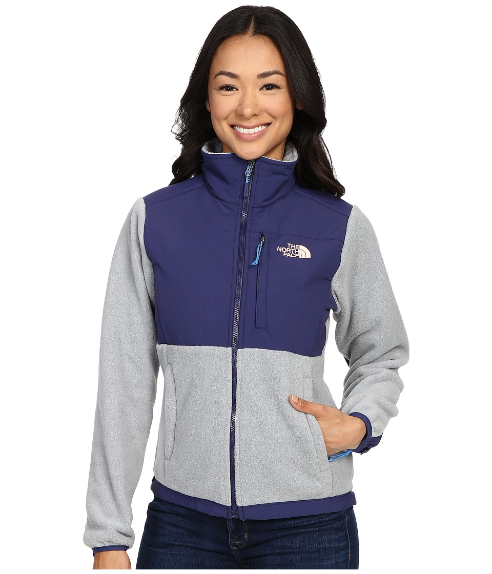 The North Face - Denali Jacket (Recycled Mid Grey Heather/Patriot Blue) Women's Coat