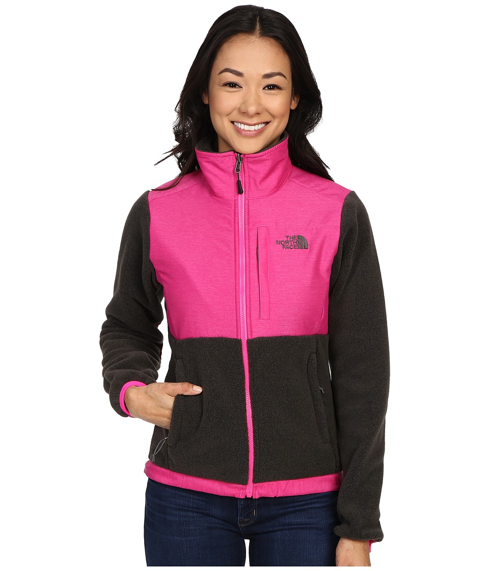 The North Face - Denali Jacket (Recycled TNF Dark Grey Heather/Glo Pink (Prior Season)) Women's Coat