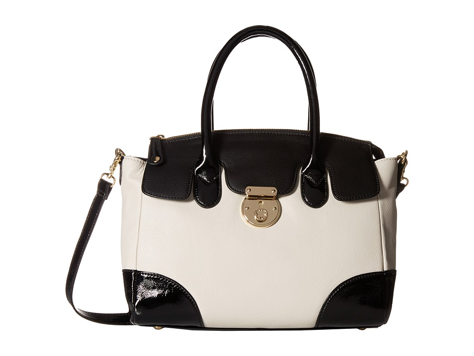 Emma Fox - Rochemont Medium Satchel (Bone/Black) Satchel Handbags