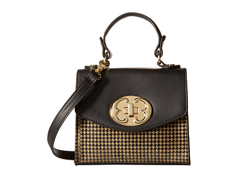 Emma Fox - Sella Small Flap Crossbody (Black/Gold Houndstooth) Cross Body Handbags