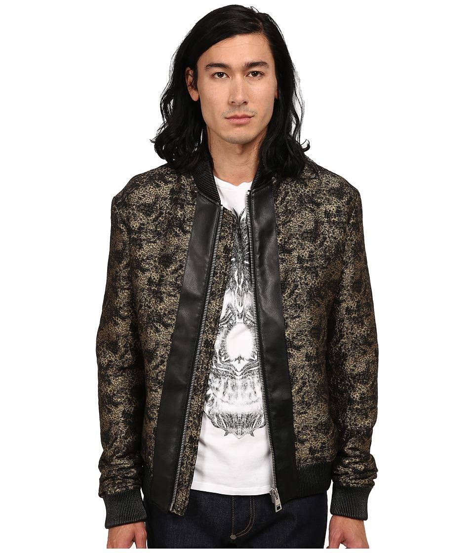 Just Cavalli - Jacquard Bomber w/ Leather Trim (Gold/Black) Men's Coat