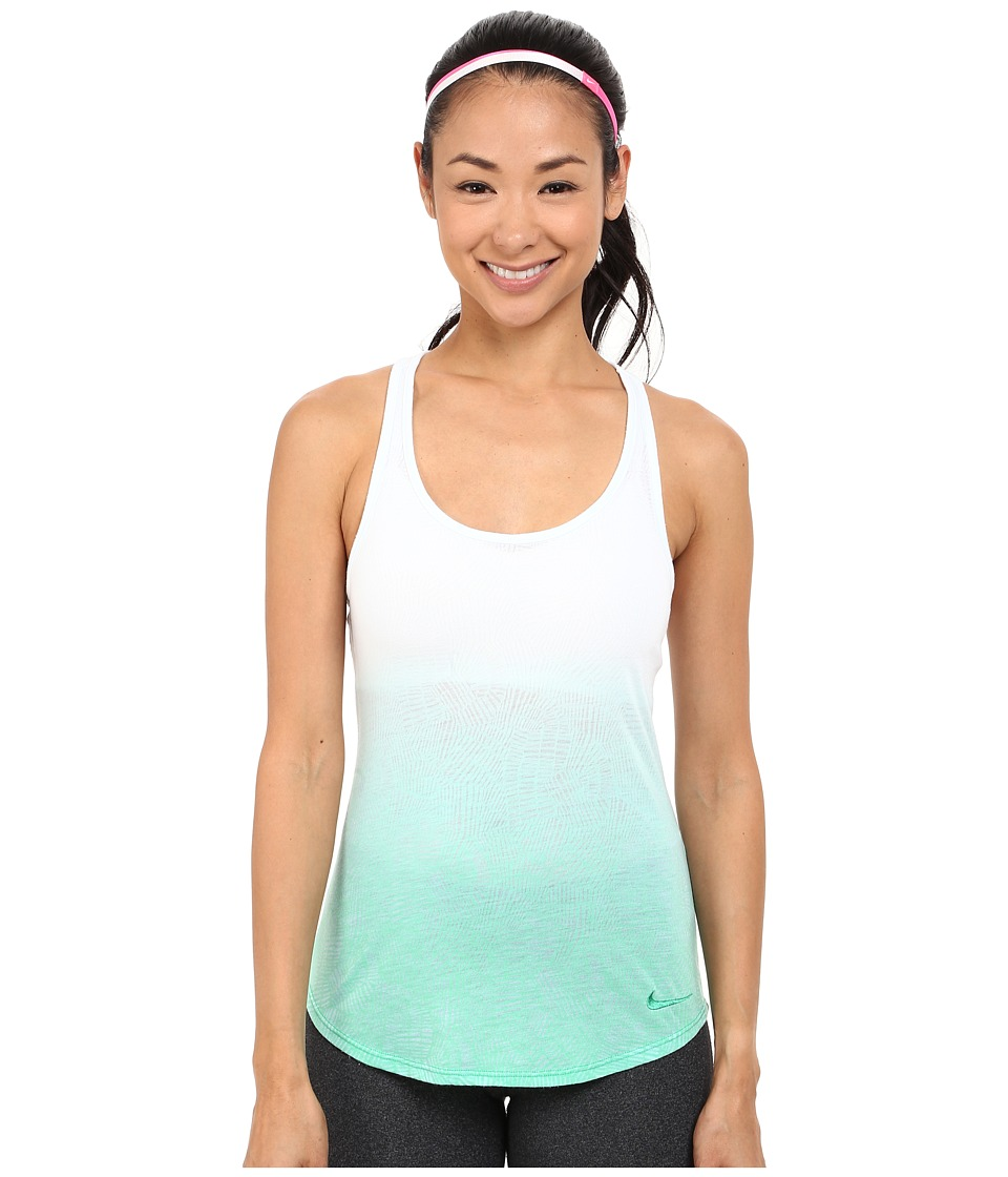 Nike - Dri-Blend Art Racer Tank Top 1 (White/Spring Leaf) Women's Sleeveless