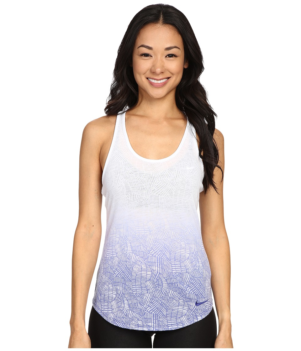 Nike - Dri-Blend Art Racer Tank Top 1 (White/Deep Royal Blue) Women's Sleeveless