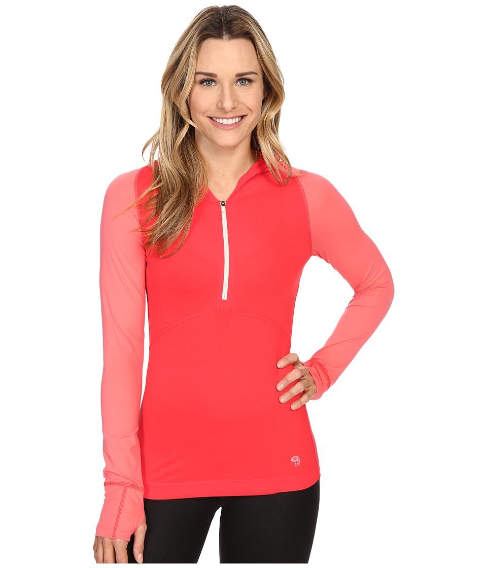 Mountain Hardwear - Butterlicious Long Sleeve Hoodie (Red Hibiscus/Paradise Pink) Women's Sweatshirt