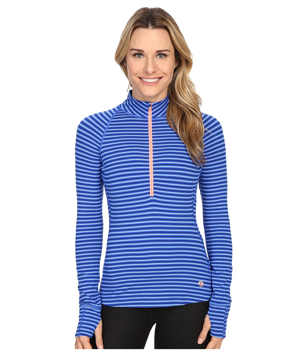 Mountain Hardwear - Butterlicious Stripe Long Sleeve 1/2 Zip (Bright Island Blue) Women's Long Sleeve Pullover