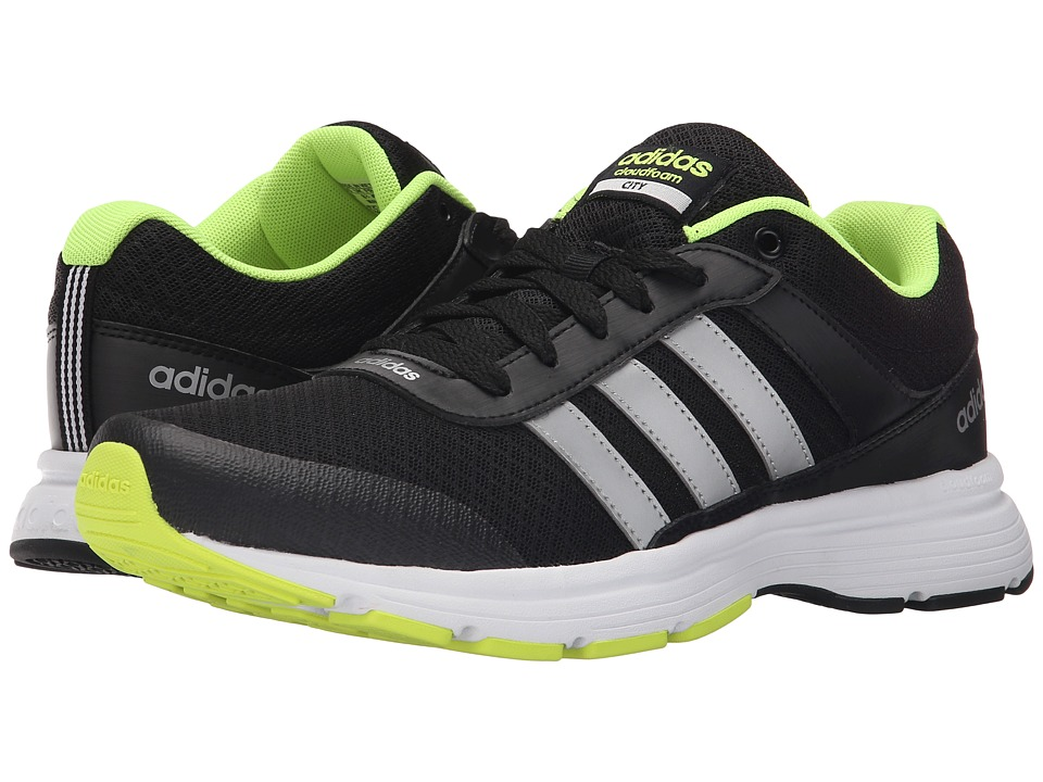 adidas - Cloudfoam VS City (Core Black/Matte Silver/Solar Yellow) Men's Running Shoes