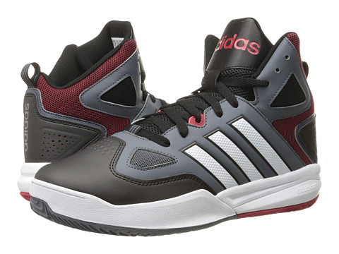 adidas - Cloudfoam Thunder Mid (Lead/White/Power Red) Men's Basketball Shoes