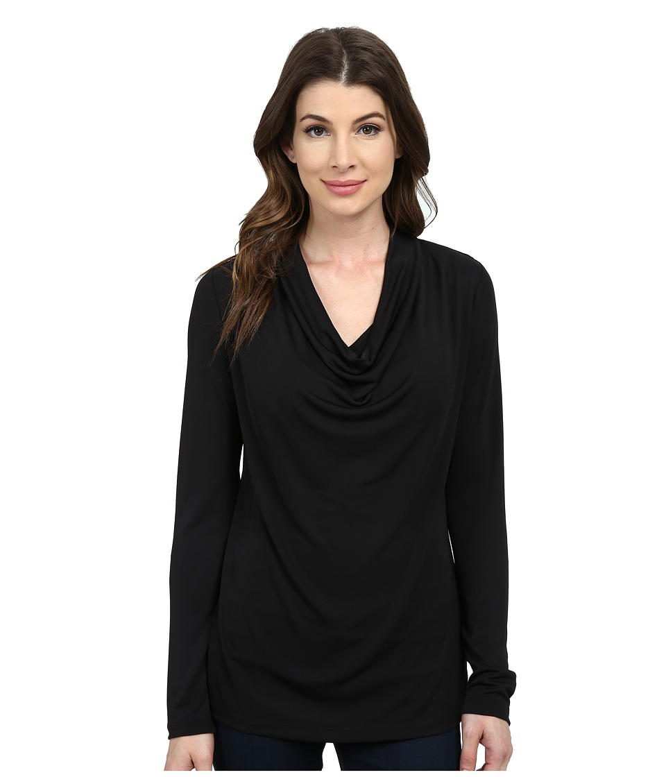 NYDJ - Fit Solution Drape Cowl Tee (Black) Women's Long Sleeve Pullover