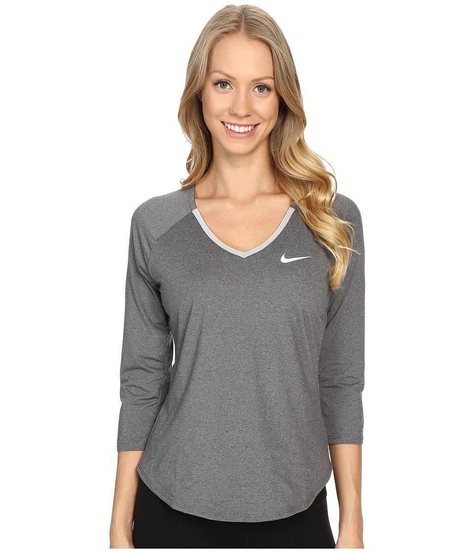 Nike - Court Pure Tennis Top (Dark Grey/White/White) Women's Long Sleeve Pullover