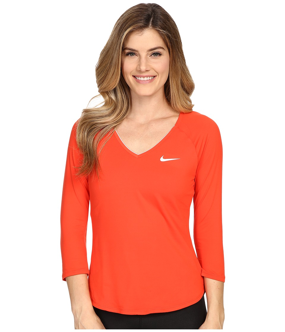 Nike - Court Pure Tennis Top (Light Crimson/White/White) Women's Long Sleeve Pullover