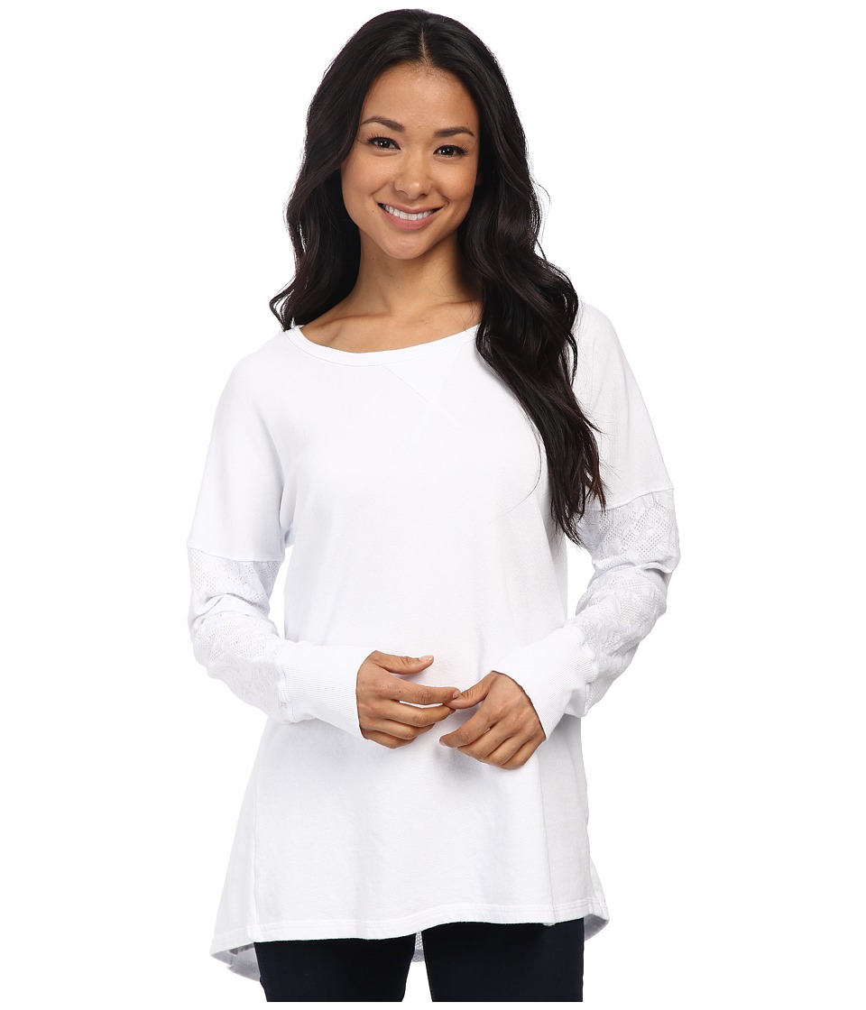 Allen Allen - Double Layer Open Back Crew Top (White) Women's Clothing