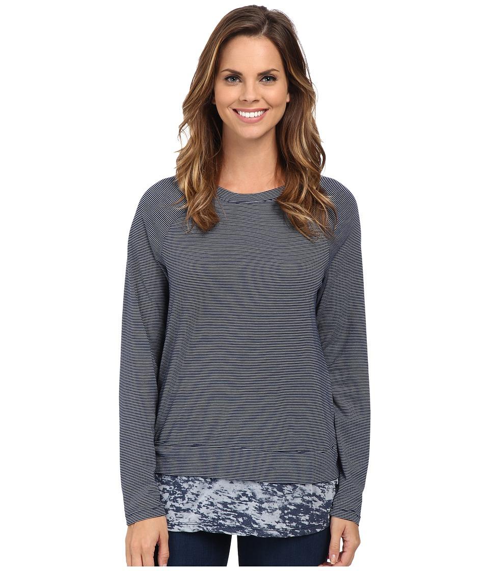 Allen Allen - Long Sleeve Raglan Crew With Contrast Hem (Lapis) Women's Long Sleeve Pullover