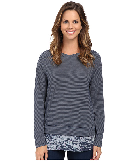 Allen Allen - Long Sleeve Raglan Crew With Contrast Hem (Lapis) Women
