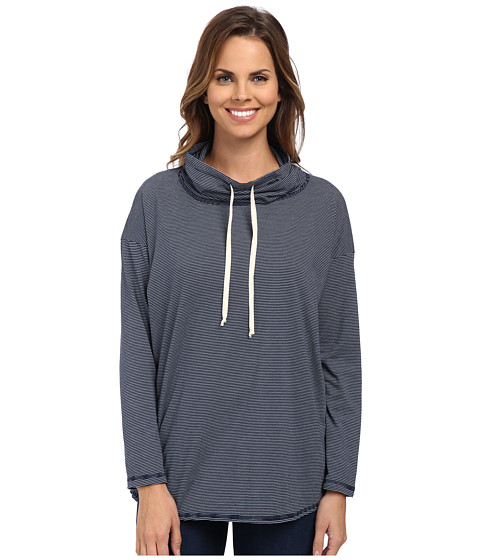 Allen Allen - Long Sleeve Funnel Neck With Shirt Tail Hem (Lapis) Women's Long Sleeve Pullover