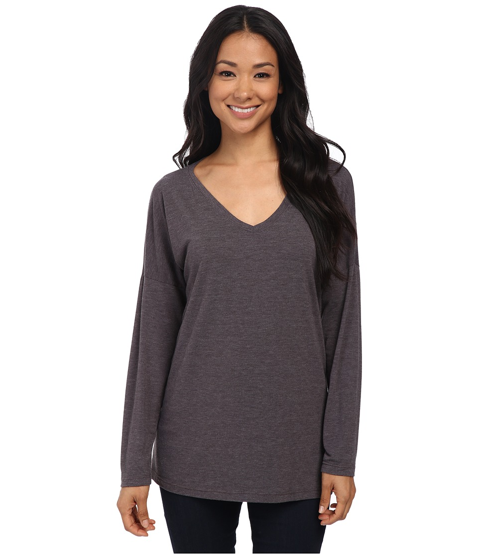 Allen Allen - Long Sleeve Drop Shoulder Dolman Vee (Deep Grey) Women's Long Sleeve Pullover