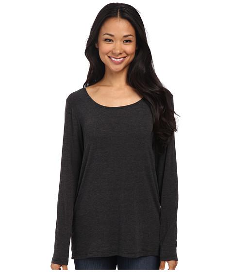 Allen Allen - Long Sleeve Low Drape Back Top (Black) Women's Long Sleeve Pullover