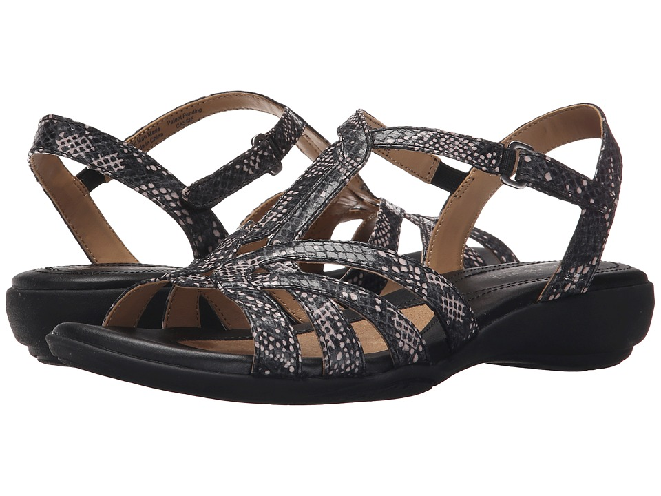 Naturalizer - Cassie (Black/White Spot Printed Snake) Women's Sandals