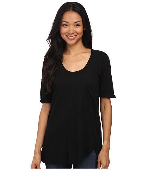 Allen Allen - Roll Sleeve Pocket Scoop Tee (Black) Women's Short Sleeve Button Up
