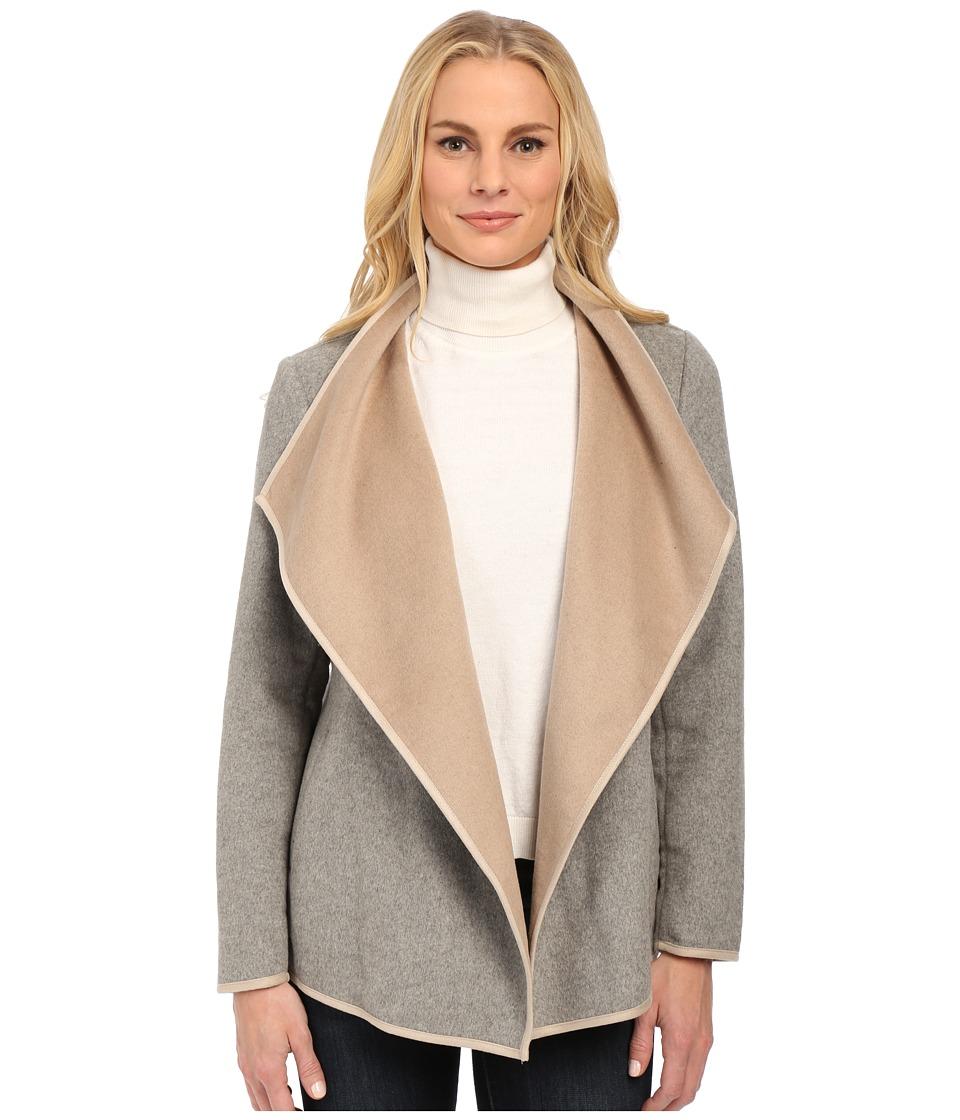 NYDJ - Drape Front Coat (Heather Gray/Oatmeal) Women's Coat