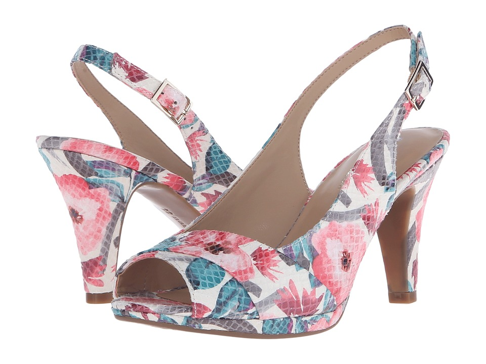 Naturalizer - Indeed (Cream Multi Floral Glossy Printed Snake) Women's Sling Back Shoes